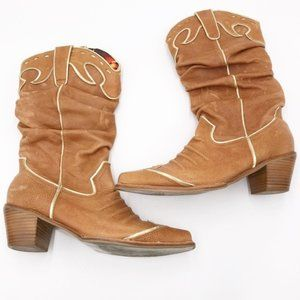 NANA Tan Leather Gold Trim Cowgirl Western Boots